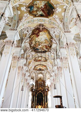 Munich, Germany - June 28, 2019: Interior Of Heilig Geist Kirche Or Church Of The Holy Spirit In Mun