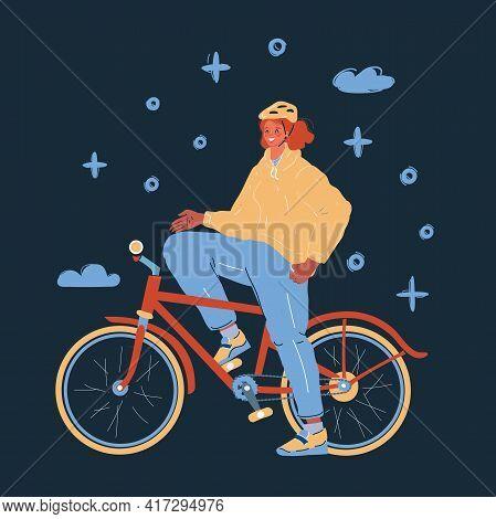 Vector Illustration Of Woman Cyclist On Bike On Dark.
