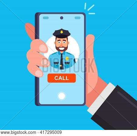 An Urgent Call To The Police To Report Crimes. Flat Vector Illustration.
