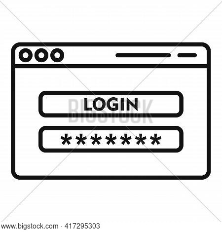 Login Personal Information Icon. Outline Login Personal Information Vector Icon For Web Design Isola