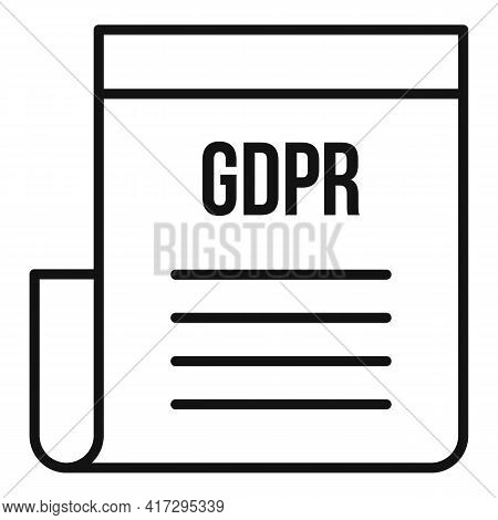 Gdpr Document Icon. Outline Gdpr Document Vector Icon For Web Design Isolated On White Background