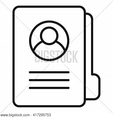 Folder Personal Traits Icon. Outline Folder Personal Traits Vector Icon For Web Design Isolated On W