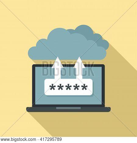 Laptop Cloud Authentication Icon. Flat Illustration Of Laptop Cloud Authentication Vector Icon For W