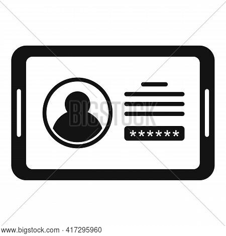 Tablet Authentication Icon. Simple Illustration Of Tablet Authentication Vector Icon For Web Design