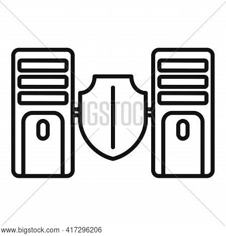 Server Authentication Icon. Outline Server Authentication Vector Icon For Web Design Isolated On Whi