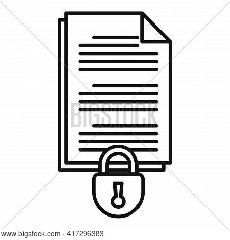 Document Access Authentication Icon. Outline Document Access Authentication Vector Icon For Web Desi
