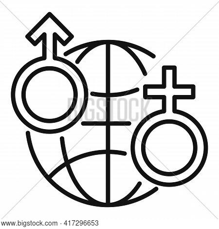 Global Gender Empowerment Icon. Outline Global Gender Empowerment Vector Icon For Web Design Isolate