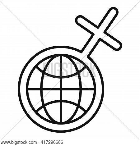Global Woman Empowerment Icon. Outline Global Woman Empowerment Vector Icon For Web Design Isolated