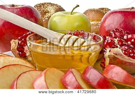 Still Life Closeup - Challah, Apples, Pomegranate And Bowl Of Honey