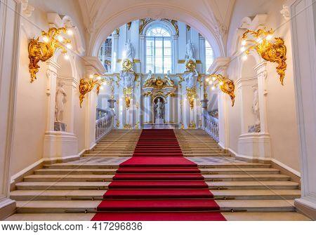 Saint Petersburg, Russia - April 2021: Jordan Staircase Of Winter Palace (hermitage Museum)
