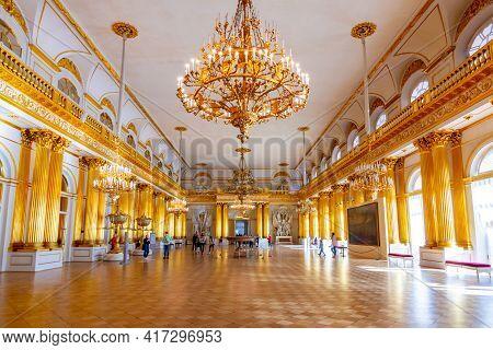 Saint Petersburg, Russia - April 2021: Armorial Hall Of Winter Palace (hermitage Museum)