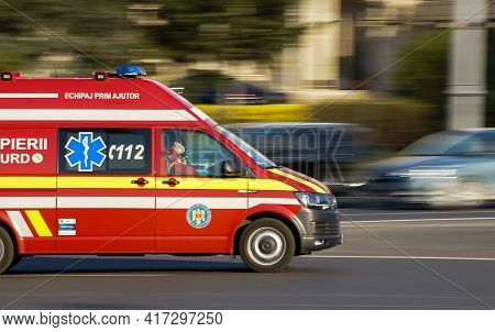 Bucharest, Romania - April 01, 2021: A Panning Shot With An Emergency Service For Resuscitation And