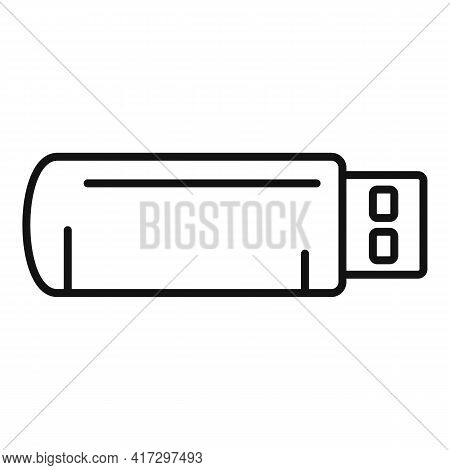 Usb Flash Icon. Outline Usb Flash Vector Icon For Web Design Isolated On White Background