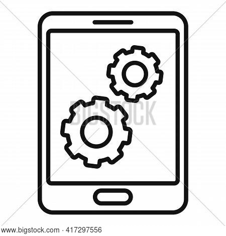Update Software Tablet Icon. Outline Update Software Tablet Vector Icon For Web Design Isolated On W