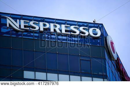 Bucharest, Romania - January 21, 2021: A Logo Of Nespresso, Coffee Capsules, Coffee Pods, Coffee Mac