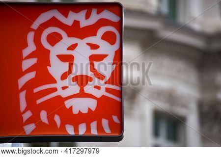 Bucharest, Romania - February 03, 2021: A Logo Of Ing Bank, Dutch Multinational Banking And Financia