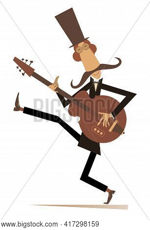 Cartoon Long Mustache Violinist Illustration.  Smiling Mustache Man In The Top Hat With Violin And F