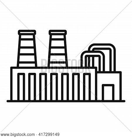Steel Factory Icon. Outline Steel Factory Vector Icon For Web Design Isolated On White Background