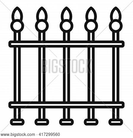 Blacksmith Metal Fence Icon. Outline Blacksmith Metal Fence Vector Icon For Web Design Isolated On W