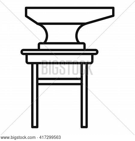 Blacksmith Anvil Stand Icon. Outline Blacksmith Anvil Stand Vector Icon For Web Design Isolated On W