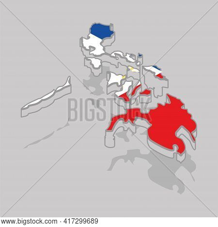 Isolated 3d Map With The Flag Of Philippines - Vector Illustration