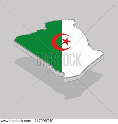 Isolated 3d Map With The Flag Of Algeria - Vector Illustration