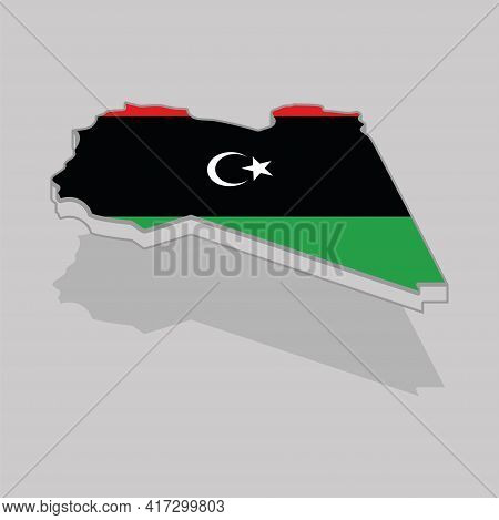 Isolated 3d Map With The Flag Of Libya - Vector Illustration