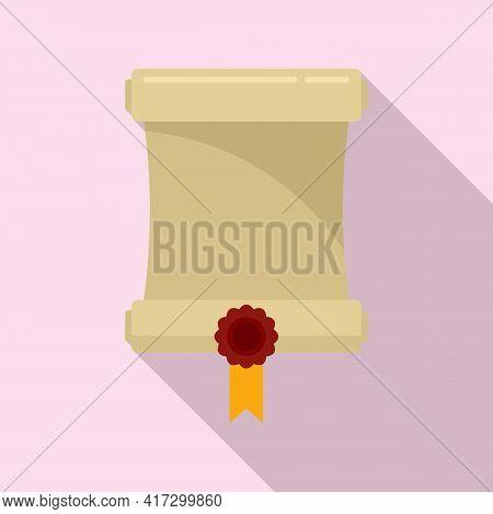 Attestation Roll Diploma Icon. Flat Illustration Of Attestation Roll Diploma Vector Icon For Web Des