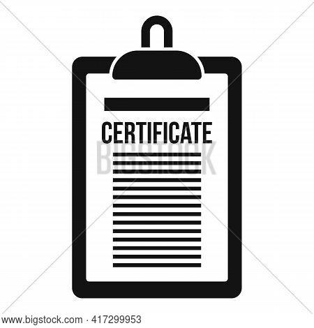 Certificate Clipboard Icon. Simple Illustration Of Certificate Clipboard Vector Icon For Web Design