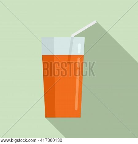 Juice Glass Icon. Flat Illustration Of Juice Glass Vector Icon For Web Design