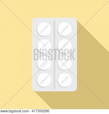 Pill Blister Icon. Flat Illustration Of Pill Blister Vector Icon For Web Design