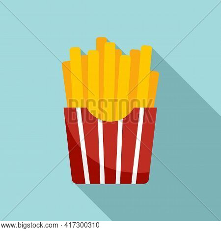 French Fries Box Icon. Flat Illustration Of French Fries Box Vector Icon For Web Design