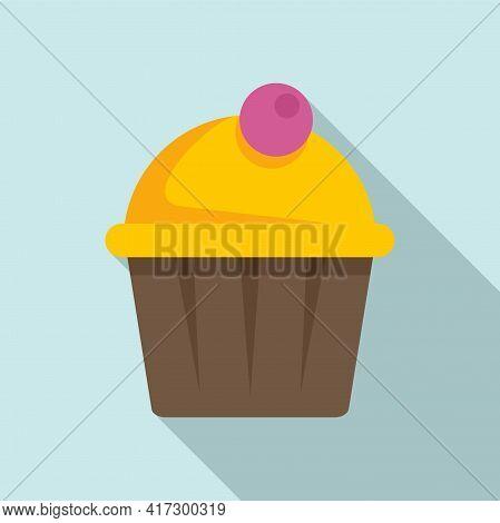 Tasty Cupcake Icon. Flat Illustration Of Tasty Cupcake Vector Icon For Web Design