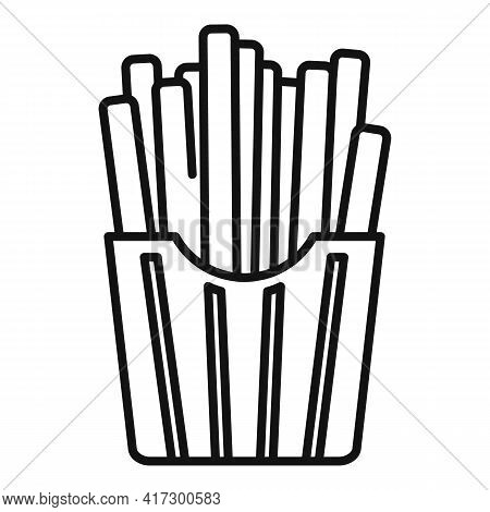 French Fries Box Icon. Outline French Fries Box Vector Icon For Web Design Isolated On White Backgro