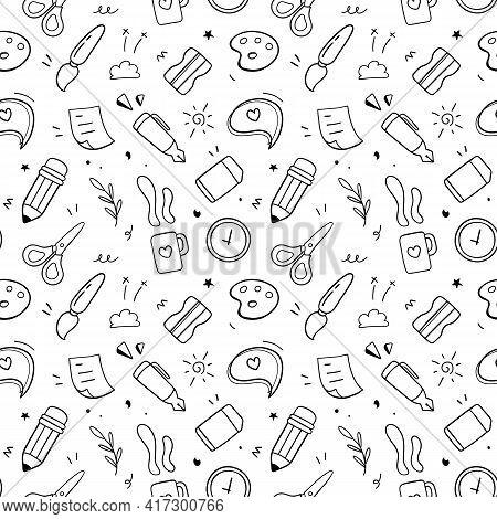 Stationary Set Vector Illustration. Doodle Drawing Design Concept