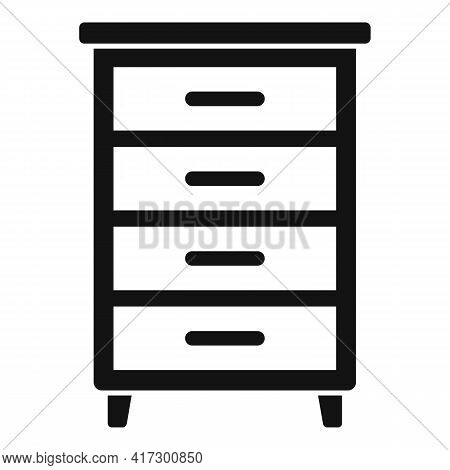 Wood Drawer Icon. Simple Illustration Of Wood Drawer Vector Icon For Web Design Isolated On White Ba