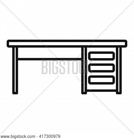 Wood Table Icon. Outline Wood Table Vector Icon For Web Design Isolated On White Background
