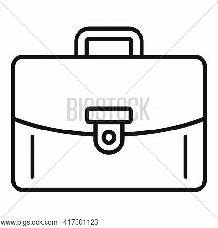 Leather Briefcase Icon. Outline Leather Briefcase Vector Icon For Web Design Isolated On White Backg