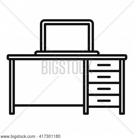 Laptop Desktop Icon. Outline Laptop Desktop Vector Icon For Web Design Isolated On White Background