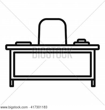 Boss Work Table Icon. Outline Boss Work Table Vector Icon For Web Design Isolated On White Backgroun