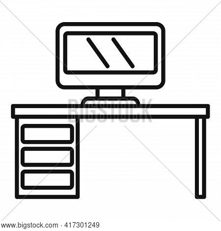 Computer Desktop Icon. Outline Computer Desktop Vector Icon For Web Design Isolated On White Backgro