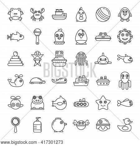 Modern Bath Toys Icons Set. Outline Set Of Modern Bath Toys Vector Icons For Web Design Isolated On