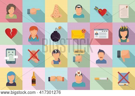 Teen Problems Icons Set. Flat Set Of Teen Problems Vector Icons For Web Design
