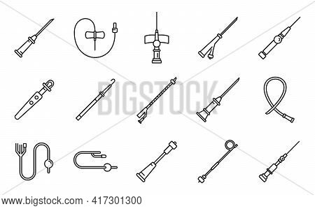 Medical Catheter Icons Set. Outline Set Of Medical Catheter Vector Icons For Web Design Isolated On