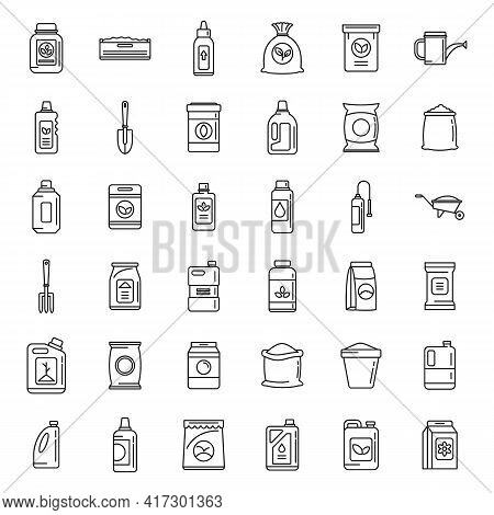Bio Fertilizer Icons Set. Outline Set Of Bio Fertilizer Vector Icons For Web Design Isolated On Whit