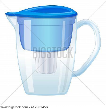 Water Filter Pitcher Icon. Cartoon Of Water Filter Pitcher Vector Icon For Web Design Isolated On Wh