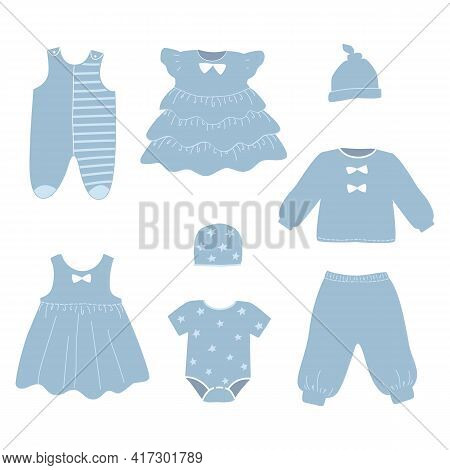 Set Of Children's Clothing. Baby Clothes. There Are Dresses, Overalls, Hats, Knickers And Other Thin