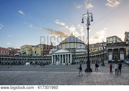 Naples, Italy - November 1, 2012: View Of The Church In Plebiscito Square In Naples, Italy