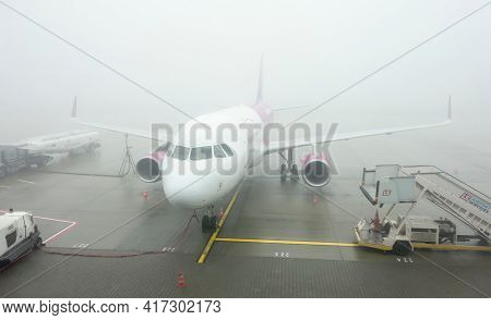 Katowice, Poland - February 3, 2019: Airbus A320 Aircraft Of Wizzair Airline Company In Extreme Fogg