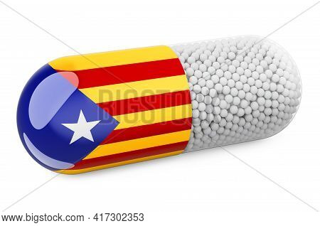 Pill Capsule With Catalan Flag. Healthcare In Catalonia Concept. 3d Rendering Isolated On White Back